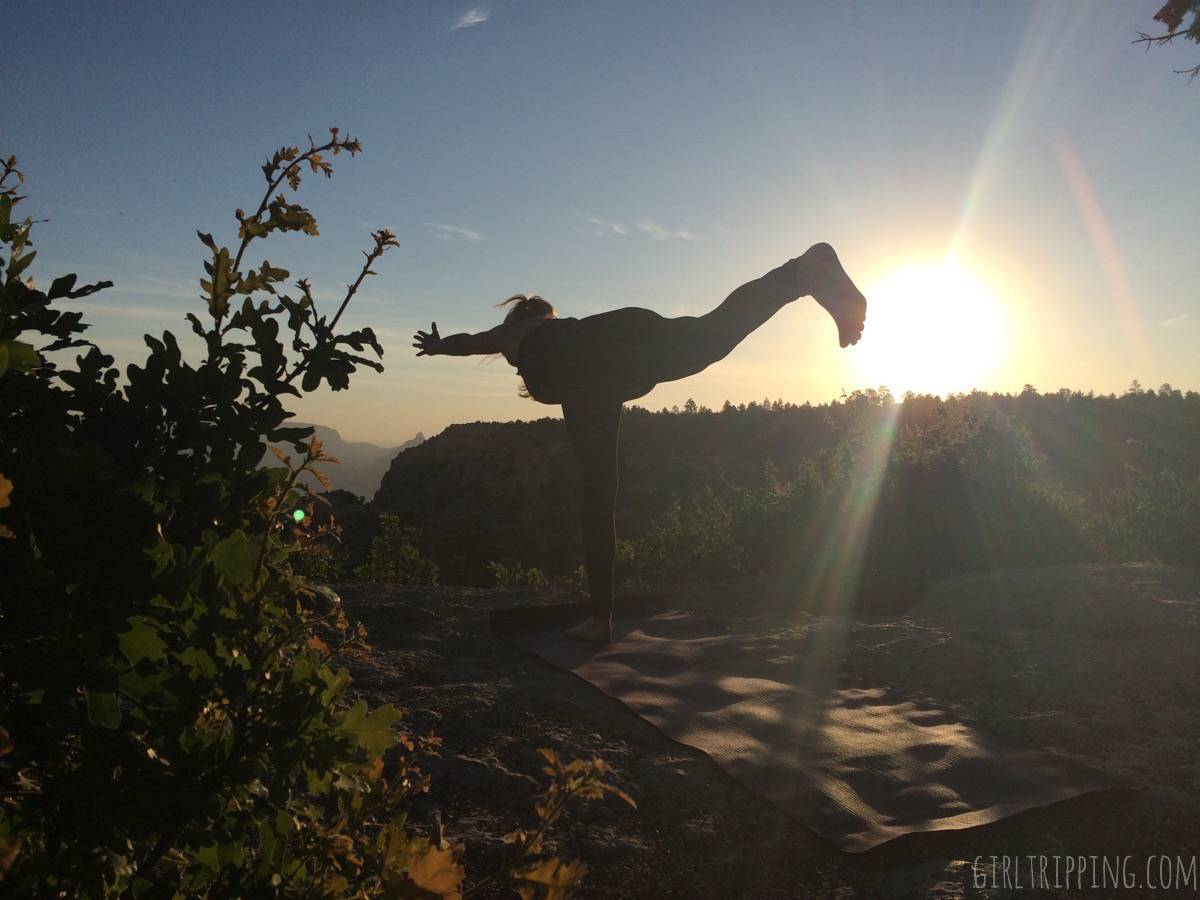 Sunrise Yoga at the Grand Canyon - Extended Warrior 3 Pose - https://girltripping.com