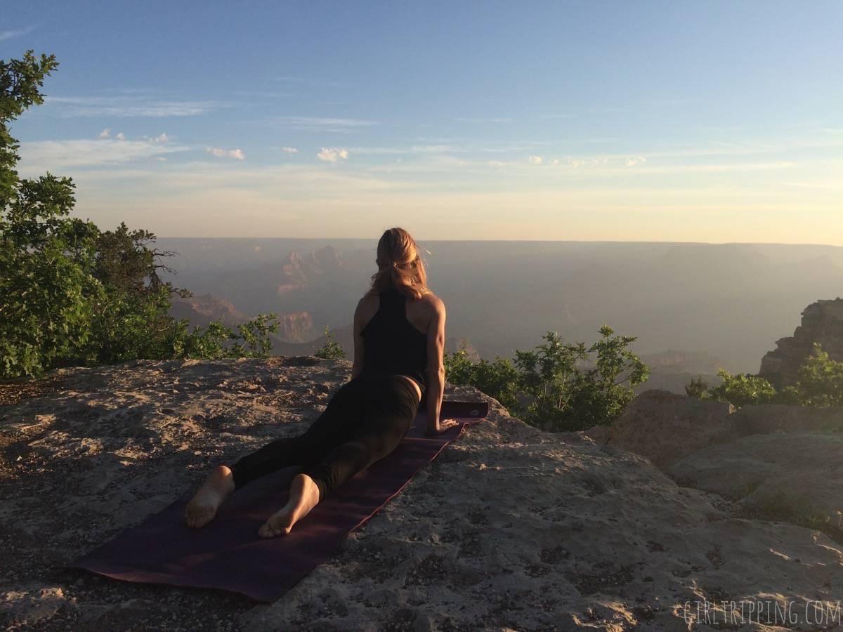 Sunrise Yoga at the Grand Canyon - Upward Facing Dog - https://girltripping.com