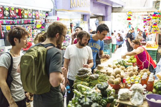 Chef Redzepi shops at open market in the Yucatan for Noma Popup in Tulum Mexico