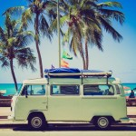 Packing for a Day at the Beach - New Twists on Old Classics - Girltripping.com - van with surfboard