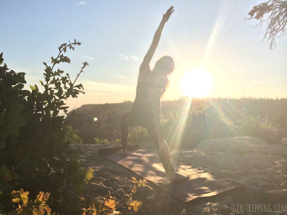 Sunrise Yoga at the Grand Canyon - Reverse Warrior - https://girltripping.com