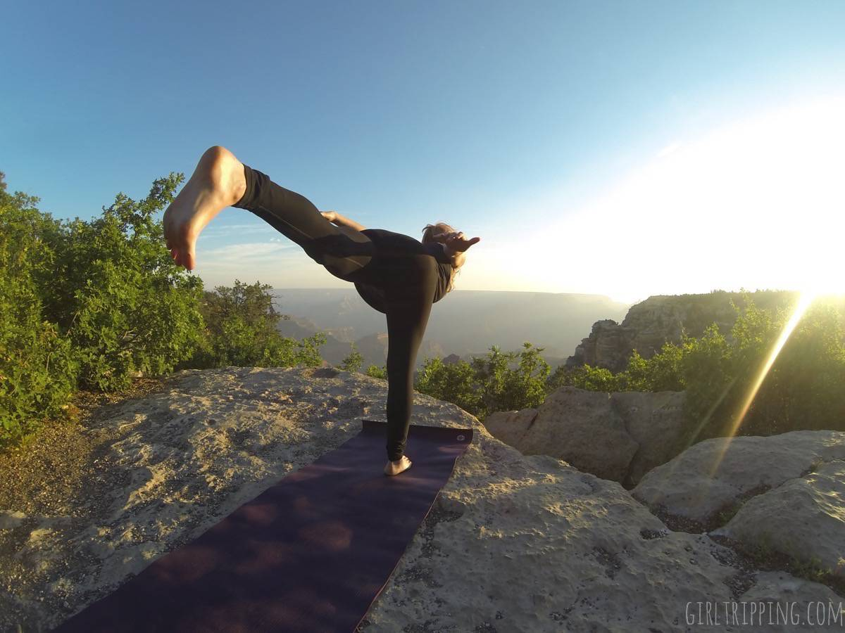 On-the-go sunrise yoga at the Grand Canyon will guarantee you sweat zen all day