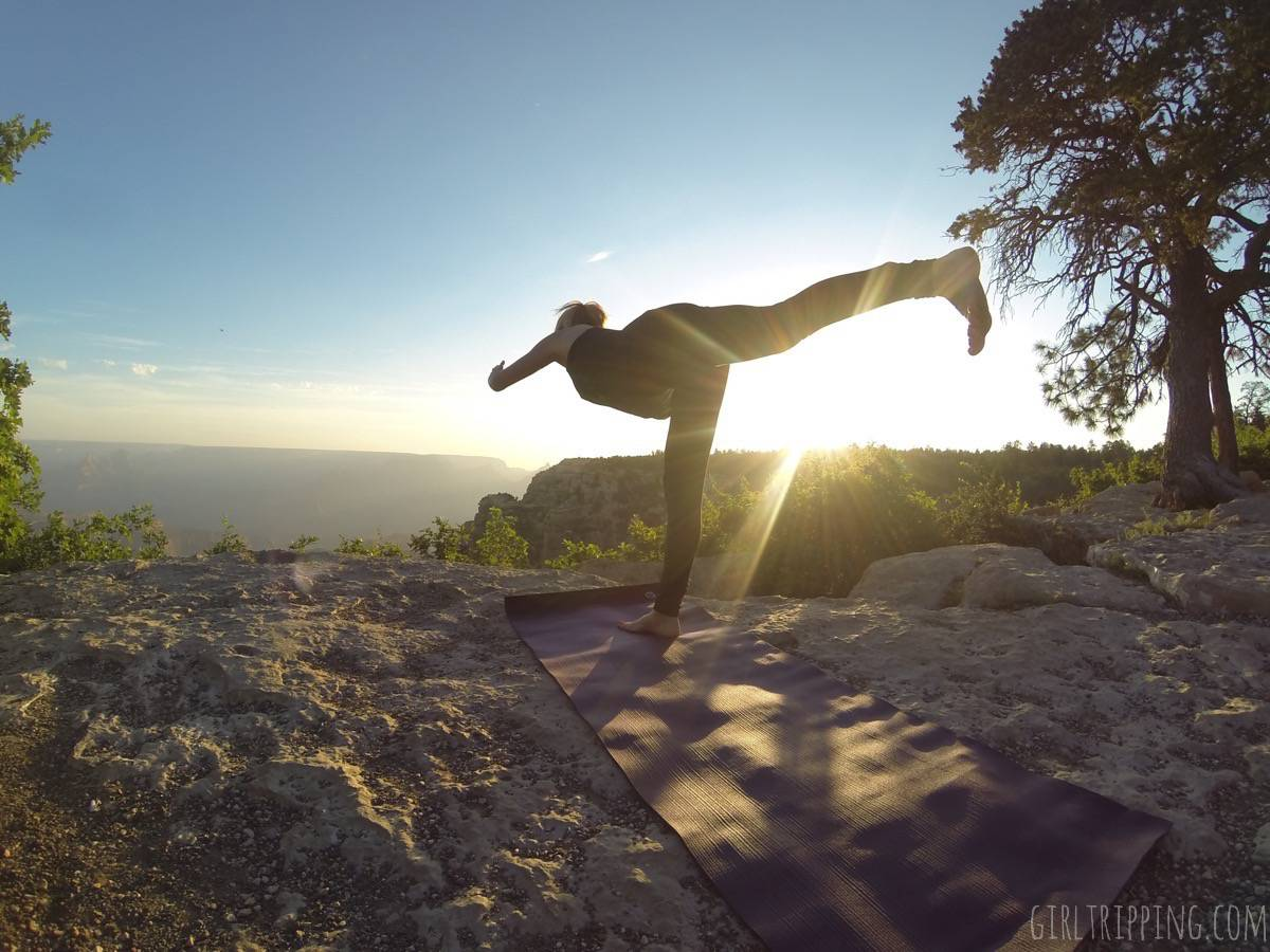 Sunrise Yoga at the Grand Canyon - warrior 3 balancing pose - https://girltripping.com
