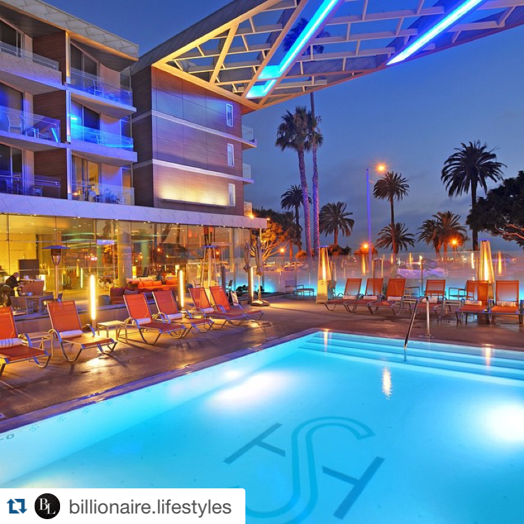 Hip LA Hotels - Shore Hotel in Santa Monica pool at night