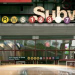 Subway sustem signs and New York City street scene